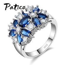 PATICO Pure 925 Sterling Silver Sparkling Rings for Women Girls Brilliant CZ Crystal Wedding Engagement Jewelry Summer Sale(China)