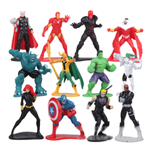 12pcs the avengers figurine Cake micro landscape ornaments set 2016 New  Age of ultron Iron man Hulk Thor  marvel de super heroe