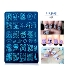 11Design 14.5*9.5cm XL rectangle 3D Fashion Pattern Polish Printing Stamping Plates for stamping nail art designs metal stencil