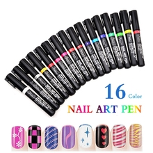 16 Colors Nail Polish Pen for 3D Nail Art DIY Decoration Nail Art Pen UV Gel Art Design Drawing Tool Beauty Vernis Gel Ongle(China)