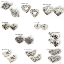 High Quality Alloy Metal Silver Plated Heart Love Charms Pendant For Vintage Choker Necklace Jewelry Making(China)