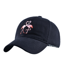 2017 Summer fashion men and women simple sun hat flamingo embroidery cotton hat leisure solid color dad hat