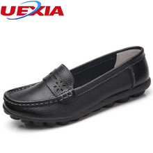 Plus Size 44 Loafers Leather Single Girl Shoes Woman Casual Flats Work Shoes For Women's Moccasins Breathable Cow Muscle Outsole(China)