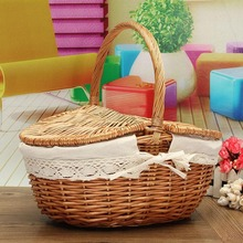 Handmade Willow Wicker Knit Basket Easy Carrying Shopping Picnic Storage Hamper With Lid Handle DIY Home Tools