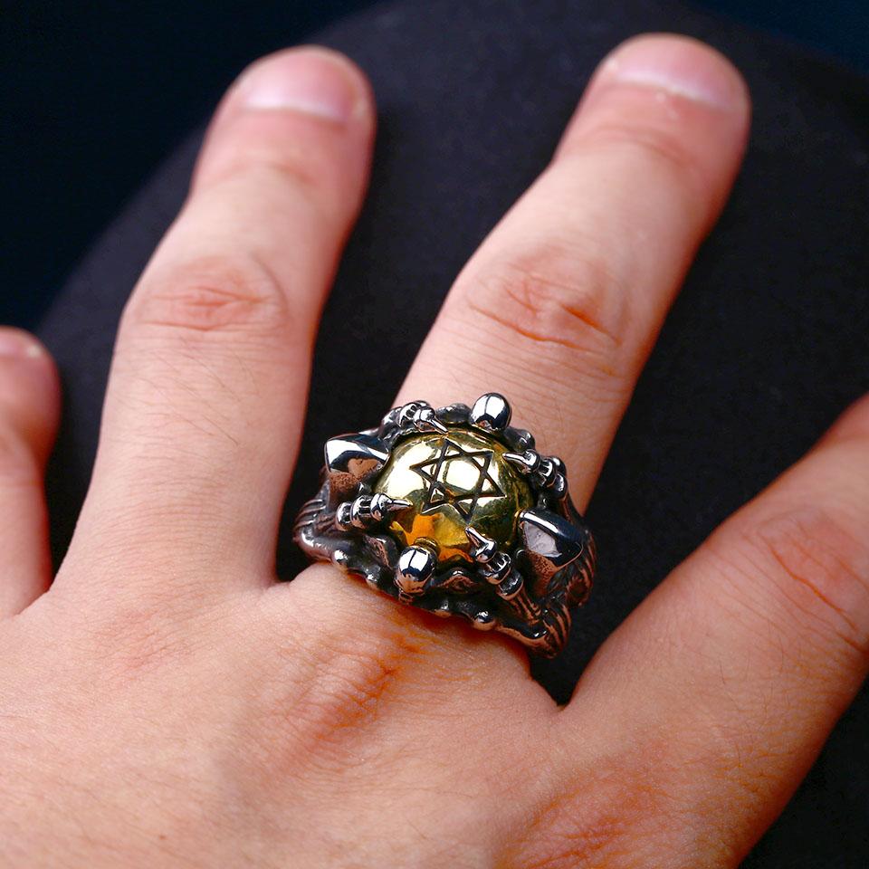 แหวนโคตรเท่ห์ Code 025 แหวนดาว6แฉกอุ้งมือมังกร สแตนเลส10