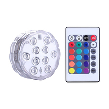 10 LED Multicolor Submersible Waterproof LED Light Lamp Bulb with IR Remote Controller for Aquarium, Vase Base, Pond, Party