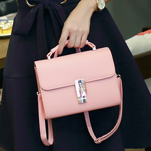 Korean Cross Pattern Fashion Pu Leather Handbags Ladies' Summer 2016 Fresh Hand Bags Sac Shoulder Bags Messenger Lock Bag