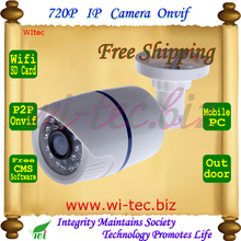 SD Card Built in WIFI 720P IR Security Bullet ONVIF Waterproof Night Vision P2P IP Cam IR Cut 1.0MP Network Megapixel Camera