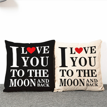 1 pcs Car Throw Pillow Case Cotton Linen Sweet Lovers Romantic Love Letter Cushion cover Decorative for Sofa Funda Cojin 45*45cm(China)