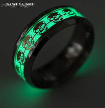Luminous Skull Rings for Men Gold Silver Glow In The Dark Rings Stainless Steel Women Rings Jewelry Drop Ship