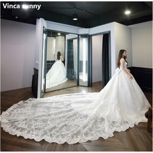 Vinca sunny Luxury White Princess Wedding Dress Lace Appliques Royal train Fashion High-end Bridal Gown 2018 Vestido De Noiva(China)