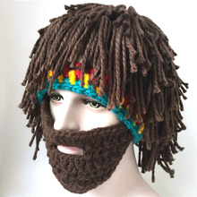 2016 Wig Beard Hats Mad Scientist Rasta Caveman Handmade Knit Warm Winter Caps Men Women Halloween Gift Funny Party Mask Beanies