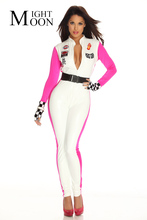 MOONIGHT Car Racing Costume Sexy Jumpsuit Racing Driver Costume Super Car Model Girl Long Sleeve Halloween Bodysuit(China)