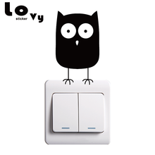 Cute Cartoon Owl Light Switch Vinyl Sticker Owl Wall Stickers for Kids Room Home Decor
