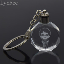 Lychee  Hot Japan Anime YURI!!! on ICE Key Chain Key Ring Yuri Plisetsky Faux Crystal LED Light Key Chain for Men Women