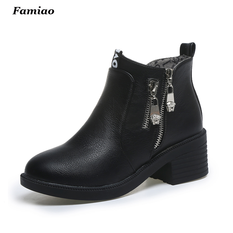 New 2017 Autumn Winter Women Ankle Boots High Quality Solid European Ladies shoes PU Leather Fashion Martin Shoes<br><br>Aliexpress