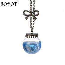 SOHOT Handmade Sea Shell Glass Bow Knot Necklaces Drop Bottle Botanical Pendant Antique Bronze Color Women Bijoux Accessory Gift(China)
