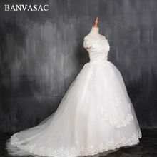 Buy BANVASAC 2017 New Line Short Sleeve Court Train Ivory Satin Bridal Wedding Dress Wedding Gown Vestido De Noiva W0127 for $86.69 in AliExpress store