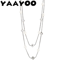 YAAYOO Woman Fashion Long Metal Rope Chain Necklaces And Milky White Round Beads Black/White Geometry Cube Mysterious Gift NL679
