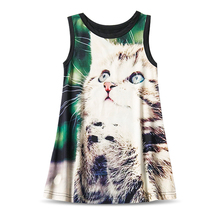 New Designs Kids Clothes Fancy Cat Horse Pattern Baby Summer Dress Girl Princess Dress Toddler Party Dresses For Girls Vestido