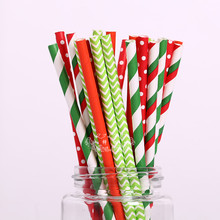 Free Shipping 25pcs Mixed Colors Green Red Striped Chevron Polka Dot Star paper straws Christmas suppliers Wedding Decoration