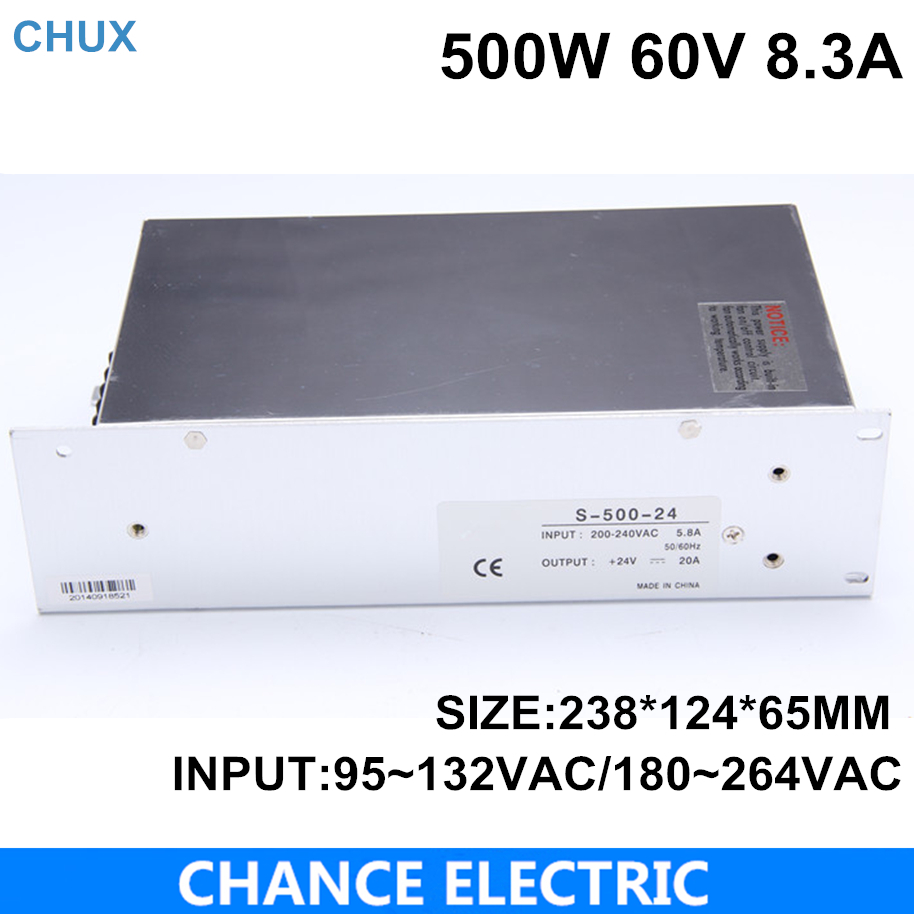 High power switching power supply 500W 60V 8.3A switching power supply AC to DC for LED strip light(S-500-60)<br>