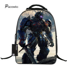 Fashion Transformers Printing Orthopedic School Backpacks Optimus Prime Waterproof Laptop School Bag for Boys Mochila Escolar
