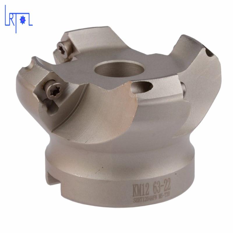 4flute KM12-63-22 45 Degree Shoulder Mill Cutter Head for SEHT1204<br>