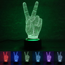 Modern minimalist colorful night light V gesture USB power supply low power energy saving lamp manufacturers custom(China)