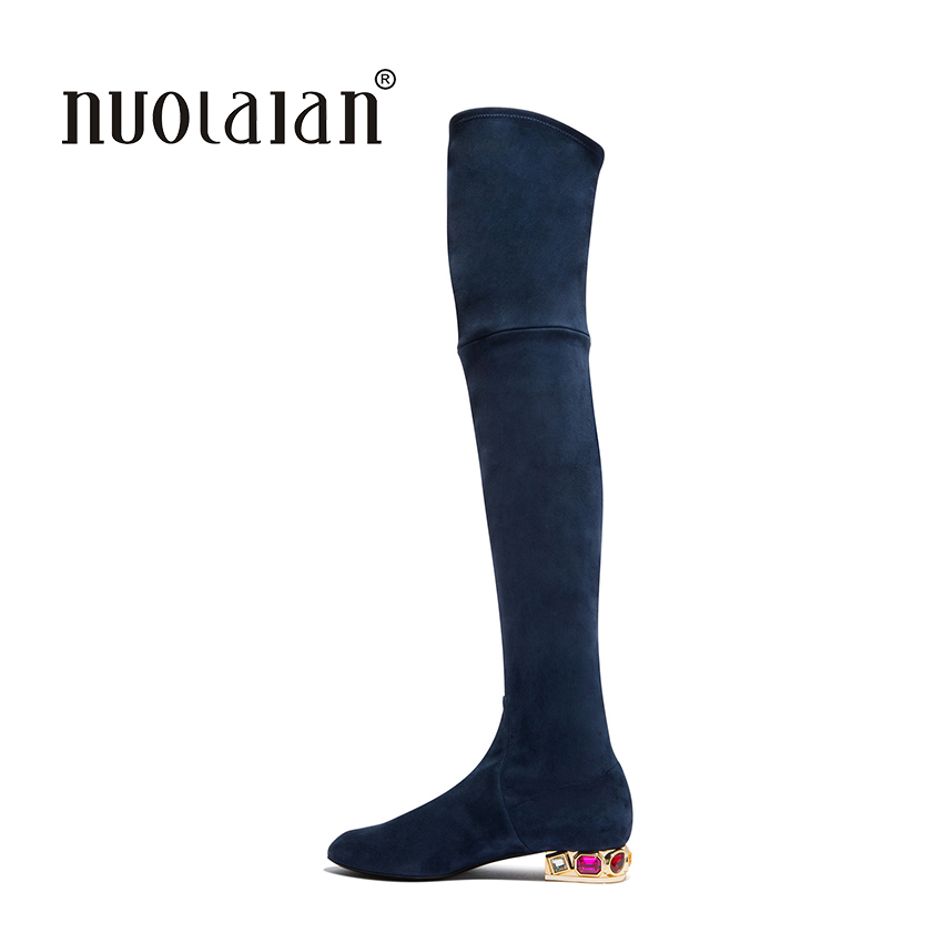 women thigh high boots over the knee motorcycle boots winter and autumn woman shoes plus size 4-11 botas mujer femininas<br>