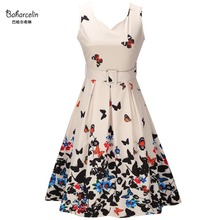Baharcelin Vestidos New Summer Dress Sleeveless Vintage Floral Printed Butterfly Women one piece Knee Length 50S 60S Dress(China)