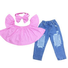 Big Cow Girls Clothing Sets Fashion Summer Kids Clothes Cute One Shoulder Shirt+Ripped Jeans+Hair Band 3Pcs/sets Girls Outfits