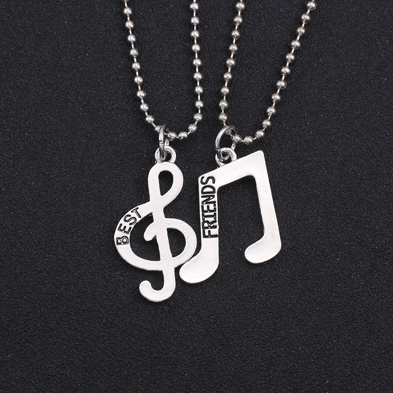 2pcs-set-Minimalist-Simple-Fashion-Musical-Note-Pendant-Necklace-Women-Best-Friends-Forever-Silver-Music-Jewelry
