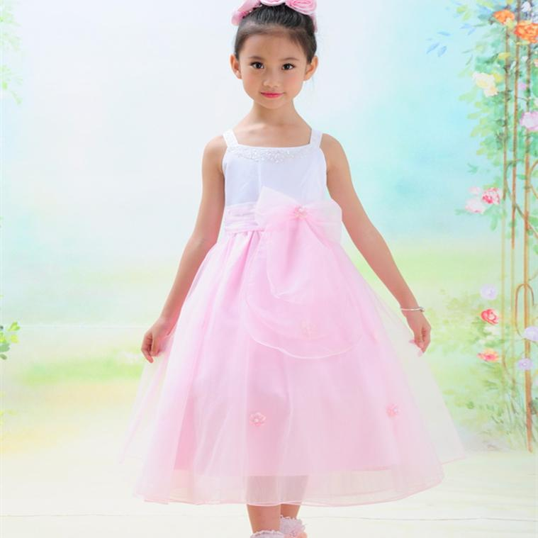 2017 Birthday Party Wear Young Girls Long Puffy Dresses Pink Spaghetti Straps Formal Kids Vestido2 To 14 Years SKD001431<br>
