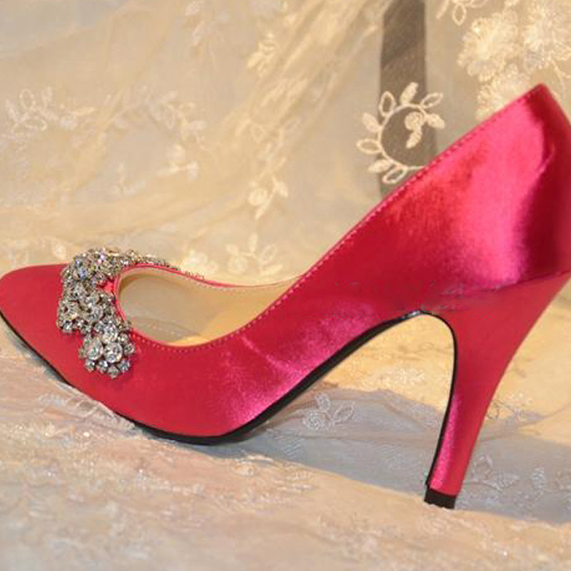 New Wedding Bridal Dress Shoes Fashion Rhinestone wedding Bridal shoes Fuchsia Bride Wedding Dress Shoes Pointed Toe Pumps<br><br>Aliexpress