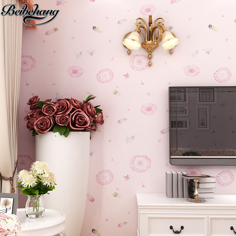 beibehang Pastoral flowers wallpaper warm pink dandelion wallpaper bedroom living room background wall 3D non - woven wallpaper<br>