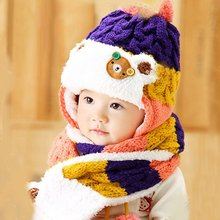 1 Pcs Winter Warm Baby Toddler Girls Boys Cartoon Hat Hooded Scarf Earflap Knitted Infant Cap