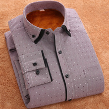 Middle  men 's warm shirt long - sleeved velvet thick middle - aged leisure business father installed winter printing shirt