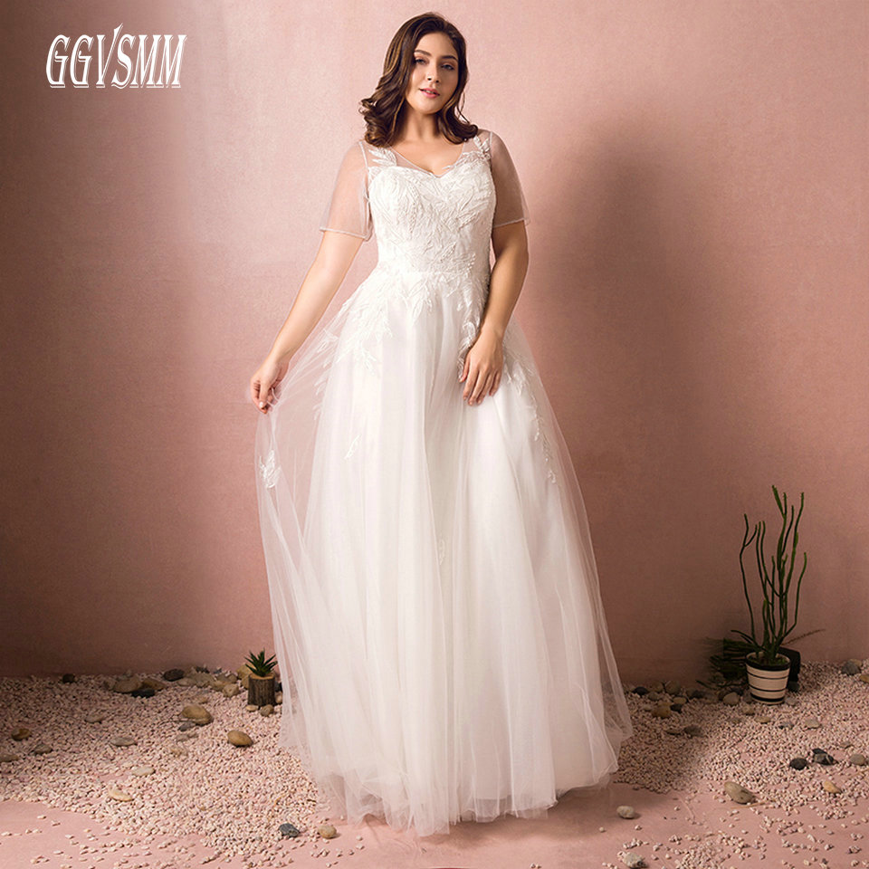 Fashion Plus Size White Wedding Gown Long 2019 Sexy Ivory Wedding Dress Scoop Tulle Appliques Lace Up Women Bridal Party Dresses