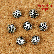 Hot-6MM 10pcs/lot Tibetan Silver Tone Round Dots Spacer Beads Metal Charms bead For Jewelry Making
