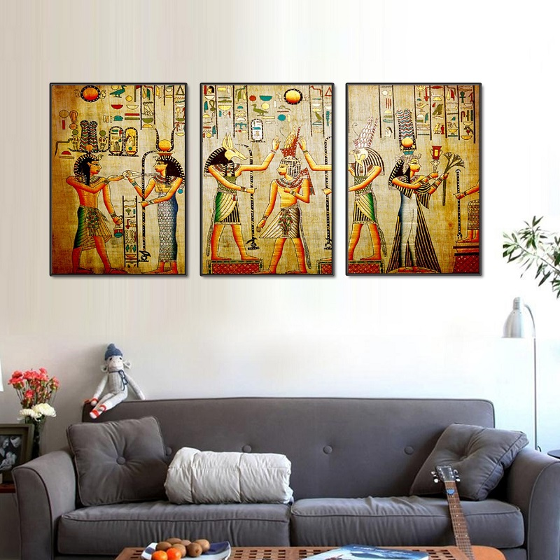 Modular-Egypt-Poster-Canvas-Prints-Oil-Painting-3pcs-Ancient-Egyptian-Picture-Framed-Figure-Mural-Room-Wall