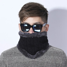 [Dexing] Unisex Winter Knitted Scarves gaiter Plus Cotton Wool Collar scarf Warmer Woman Crochet Ring Men Loop neck Scarf(China)