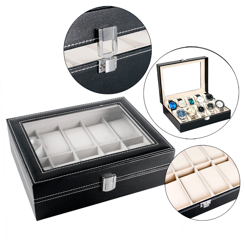 High Quality Holder Black Leather Watch Box with Foam Pad Luxury Fashion Display Case Classical Pillow Gift Box Storage<br>