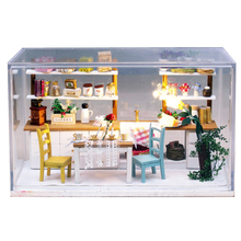 Dream Kitchen Wooden Doll House Miniature DIY Assemble Dollhouse Furniture Miniature Doll Houses With LED Lights Gift
