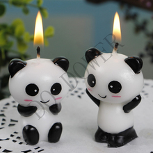 2pcs/pair Cute Panda Kid's Birthday Cake Candles Birthday Party Decoration Candle.Creative Birthday Cake Toppers.Party Supplies(China)