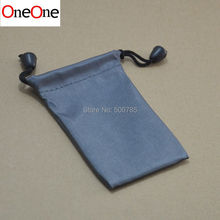 OneOne wholesale 500pcs 11*7cm grey nylon waterproof Retail Packaging cloth Bag for usb cable earphone mp 3 4 and others(China)