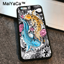 MaiYaCa Koi carp fish tattoo lotus skull dragon Phone Cases For iPhone 6 6s Plus Black TPU Cover Case For iPhone 6 6s Plus Coque(China)