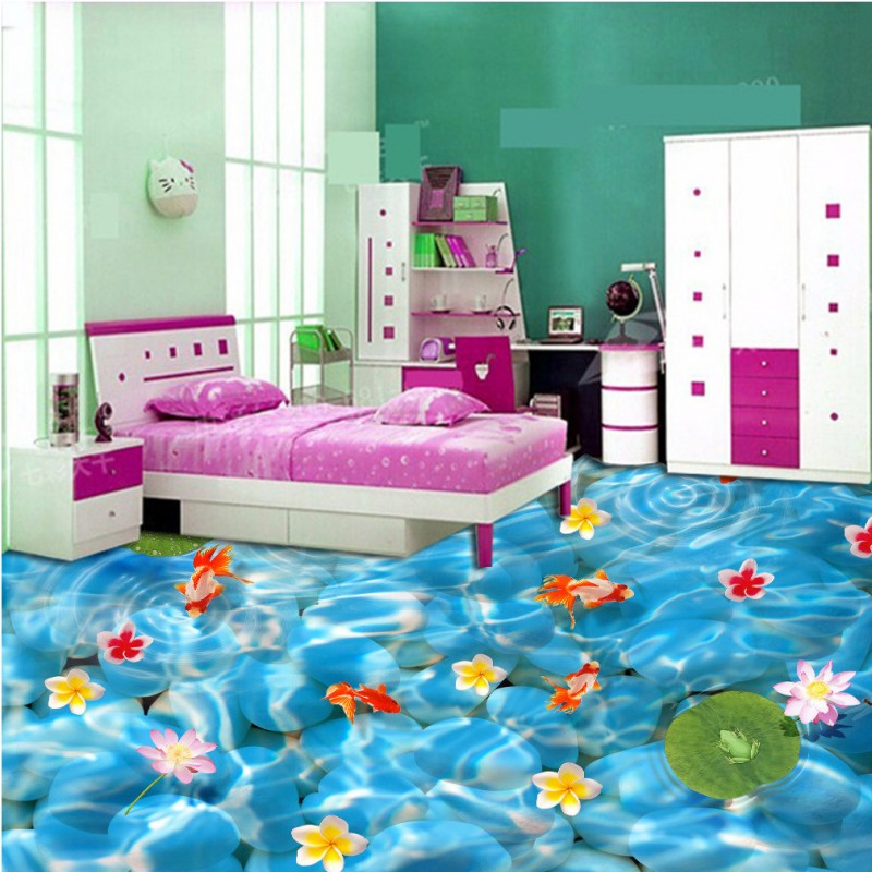 Free Shipping pebble carp fish pond floor wallpaper shopping mall aisle waterproof self-adhesive floor mural<br><br>Aliexpress