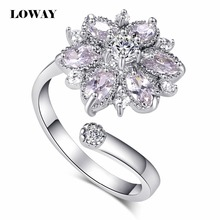 LOWAY Big Flower Adjustable Women Ring Cubic Zirconia Fine Quality White Color Elegant Ladies Rings Free Size JZ5810