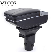 Vtear For Nissan March armrest box PU Leather central Store content box cup holder interior car-styling products accessory 10-16